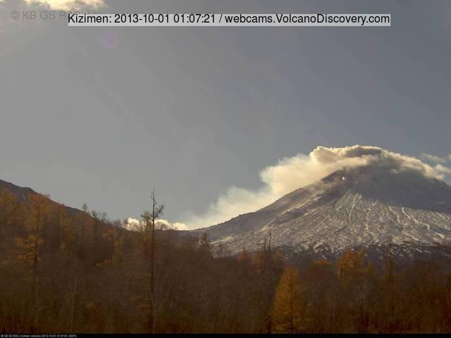 Kizimen volcano this morning (KVERT webcam)