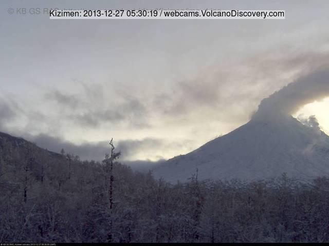 Steaming Kizimen volcano this morning