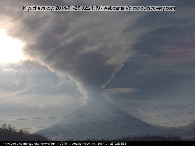 Steam/ash plume from Klyuchevskoy volcano today (KVERT webcam)