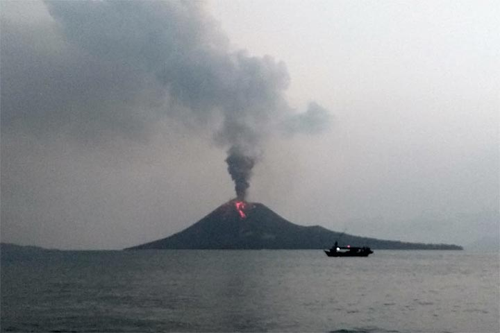 Krakatau On  July Evening With A Lava Flow On The Southern Flank