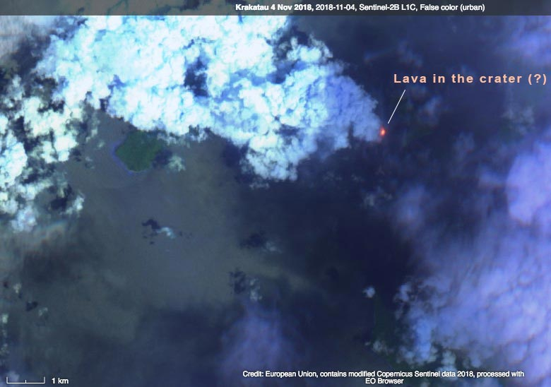 Sentinel-2 L1C image from 4 Nov 2018 showing lava in the summit crater of Anak Krakatau (image: Sentinel Hub / ESA)