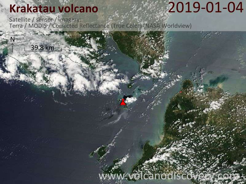 Satellite image of Krakatau volcano on  4 Jan 2019