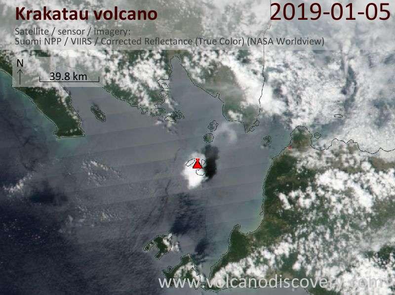 Satellite image of Krakatau volcano on  5 Jan 2019