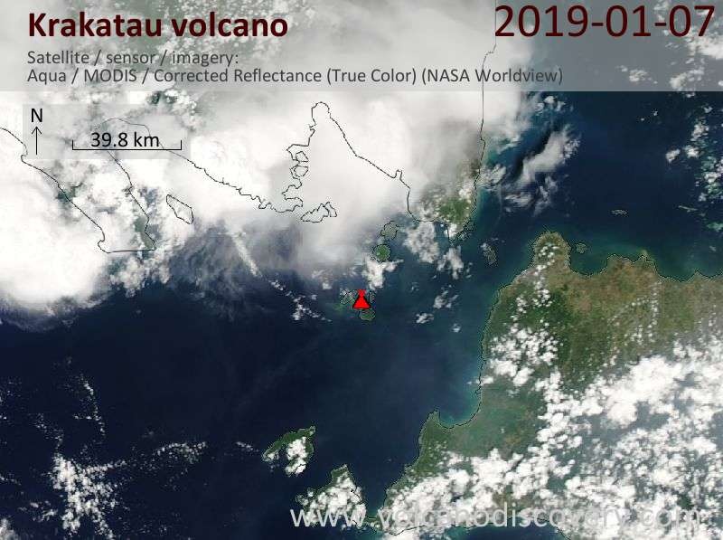 Satellite image of Krakatau volcano on  7 Jan 2019