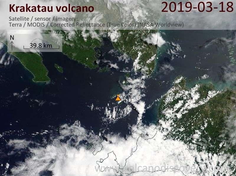 Satellitenbild des Krakatau Vulkans am 18 Mar 2019