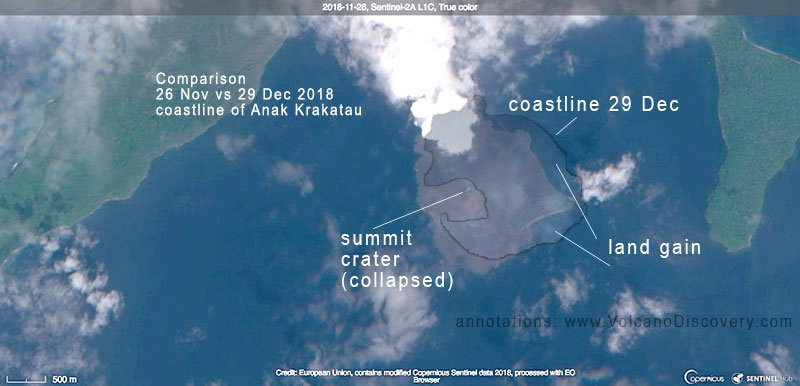 Comparison of Anak Krakatau's coast line seen on 29 Dec with a satellite image before the eruption (26 Nov 2018) (image: Sentinel-2 / ESA)
