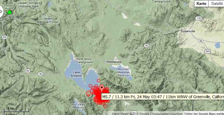 Location of recent earthquakesSE of Lassen volcano (USGS data)
