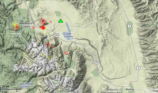 Map of recent quakes at the Long Valley caldera (California)