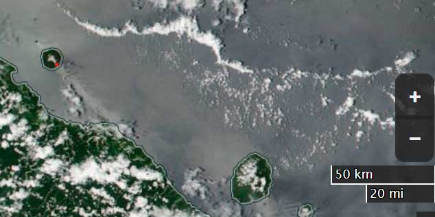 Ash plume from Manam volcano this morning