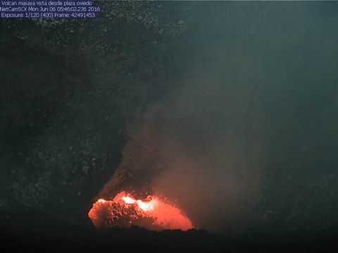 Masaya's lava lake this morning (INETER crater webcam)