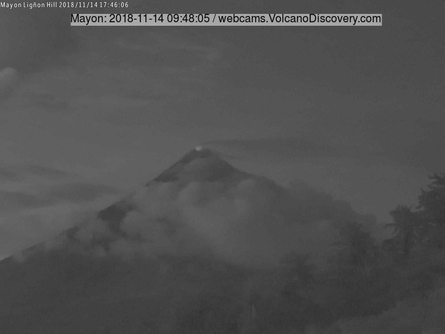 Mayon volcano (Philippines): increasing activity, sporadic small explosions, crater glow