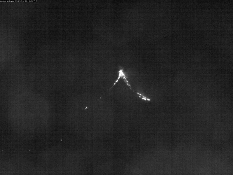View of Mayon with active lava flows this morning (PHILVOLCS webcam)