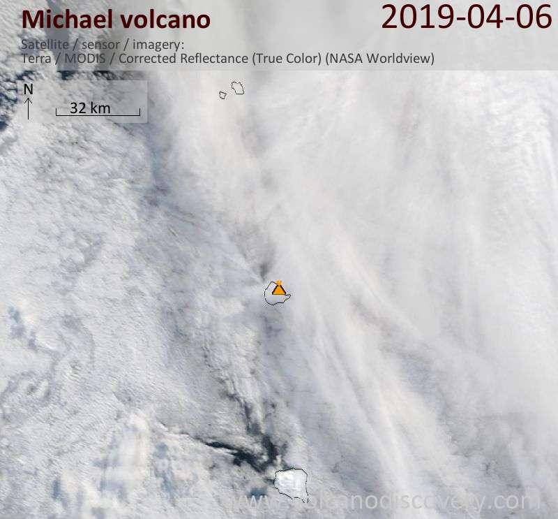 Satellite image of Michael volcano on  6 Apr 2019