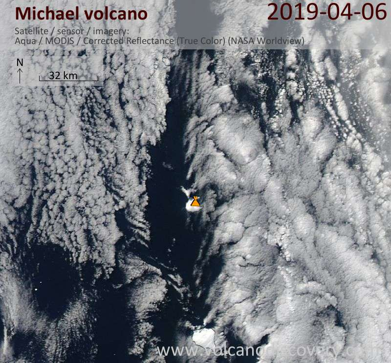 Satellite image of Michael volcano on  7 Apr 2019