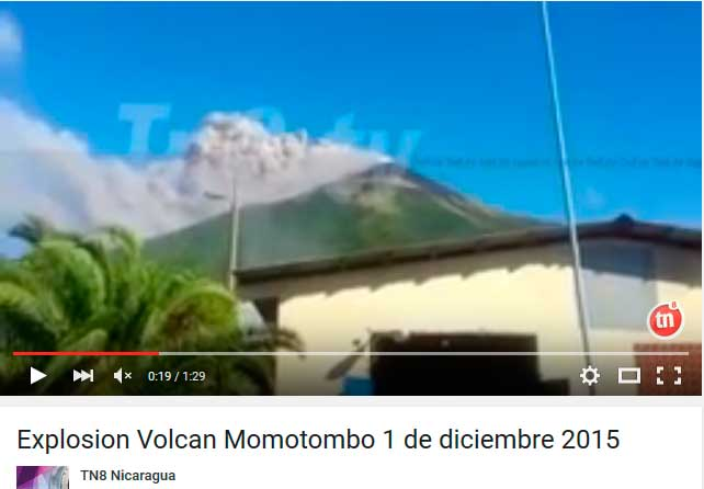 Eruption of Momotombo volcano this morning (from TN8 Nicaragua video)