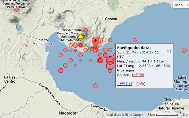 Momotombo volcano nicaragua earthquake swarm volcanodiscovery map of recent earthquakes at momotombo volcano gumiabroncs Choice Image