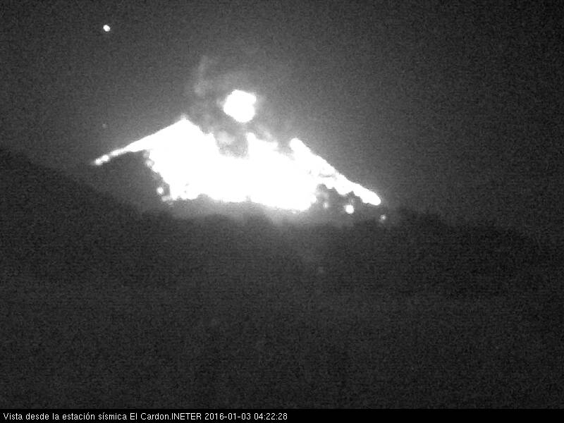 The cone of Momotombo volcano covered by glowing bombs from this morning's eruption