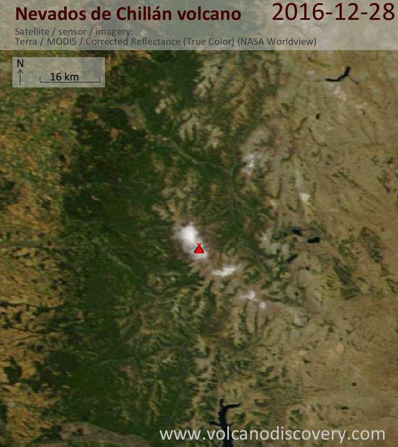 Satellite image of Nevados de Chillán volcano on 28 Dec 2016