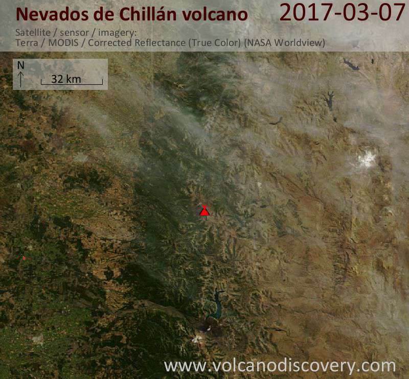 Satellite image of Nevados de Chillán volcano on  7 Mar 2017