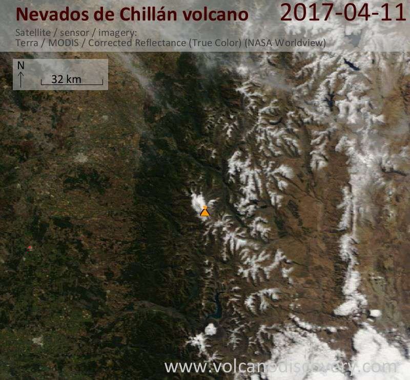 Satellite image of Nevados de Chillán volcano on 11 Apr 2017