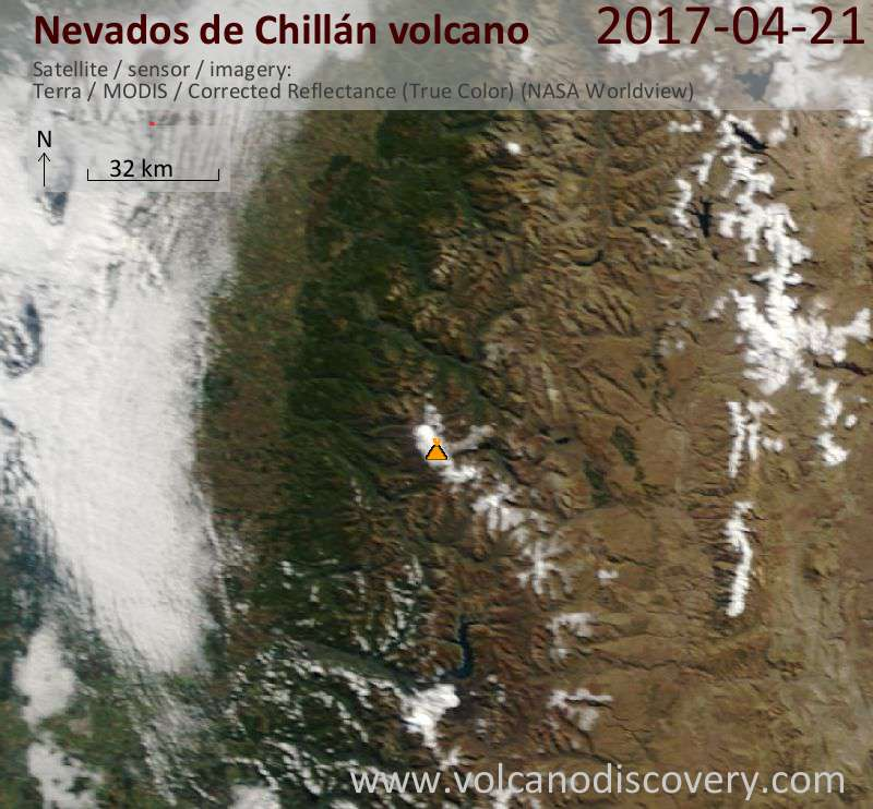 Satellite image of Nevados de Chillán volcano on 21 Apr 2017