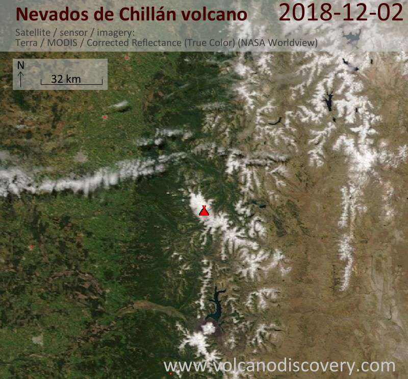Satellite image of Nevados de Chillán volcano on  2 Dec 2018