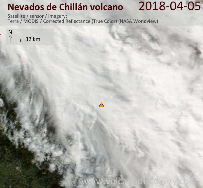 Satellite image of Nevados de Chillán volcano on  5 Apr 2018