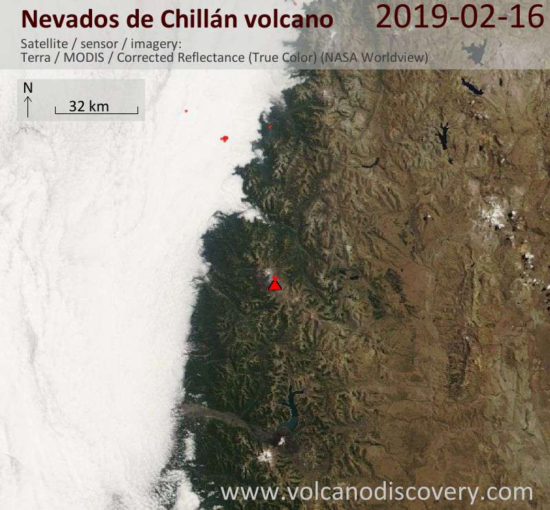 Satellite image of Nevados de Chillán volcano on 16 Feb 2019