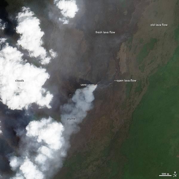 NASA satellite image of the eruption area of Nyamuragira taken on 3 Jan 2012