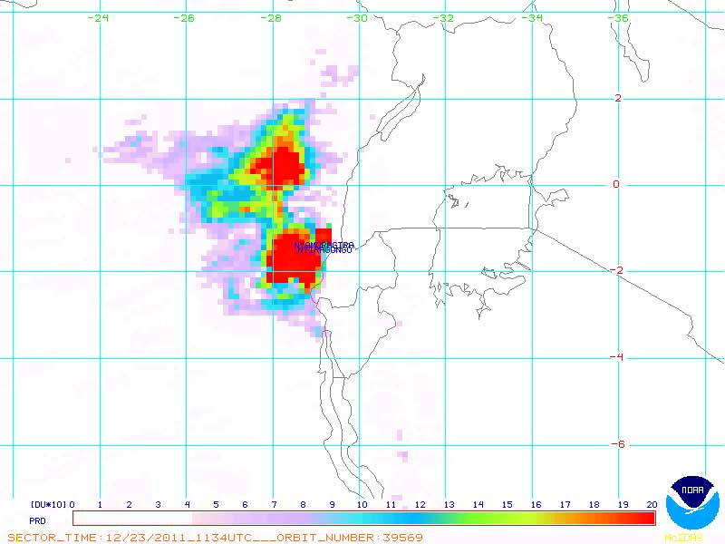 The sulfur dioxide plumes from Nyiragongo volcano (b) and Nyamuragira volcano (t), both in eruption, on 23 Dec 2012 (NOAA)