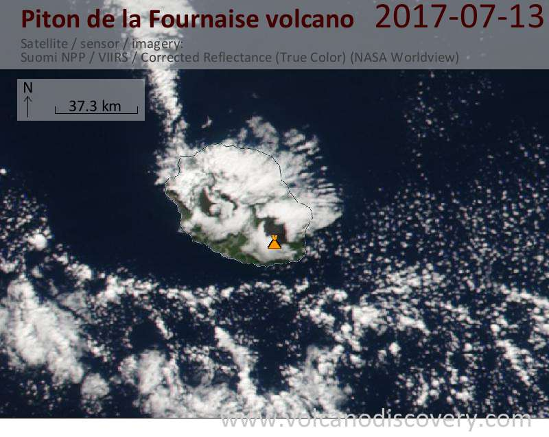 Satellite image of Piton de la Fournaise volcano on 13 Jul 2017