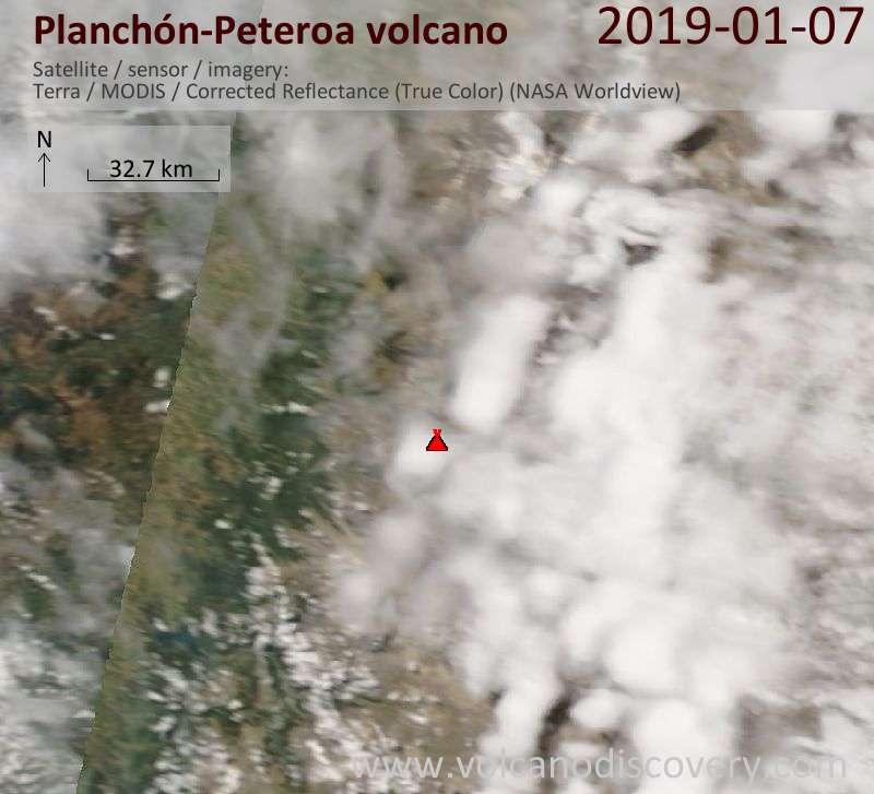 Satellite image of Planchón-Peteroa volcano on  7 Jan 2019