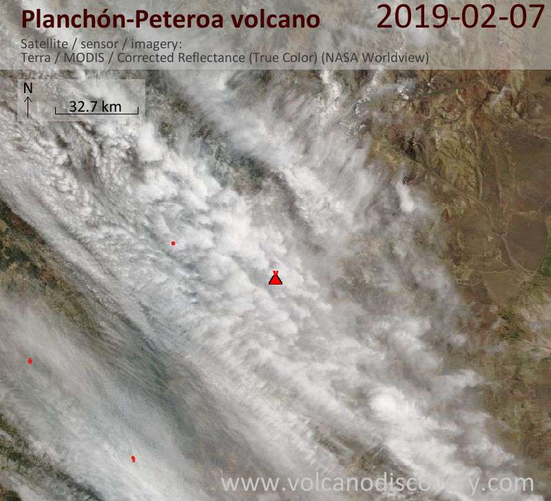 Satellite image of Planchón-Peteroa volcano on  7 Feb 2019
