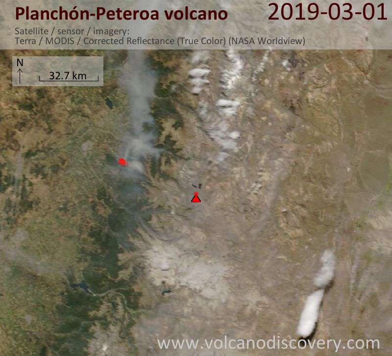Satellite image of Planchón-Peteroa volcano on  1 Mar 2019