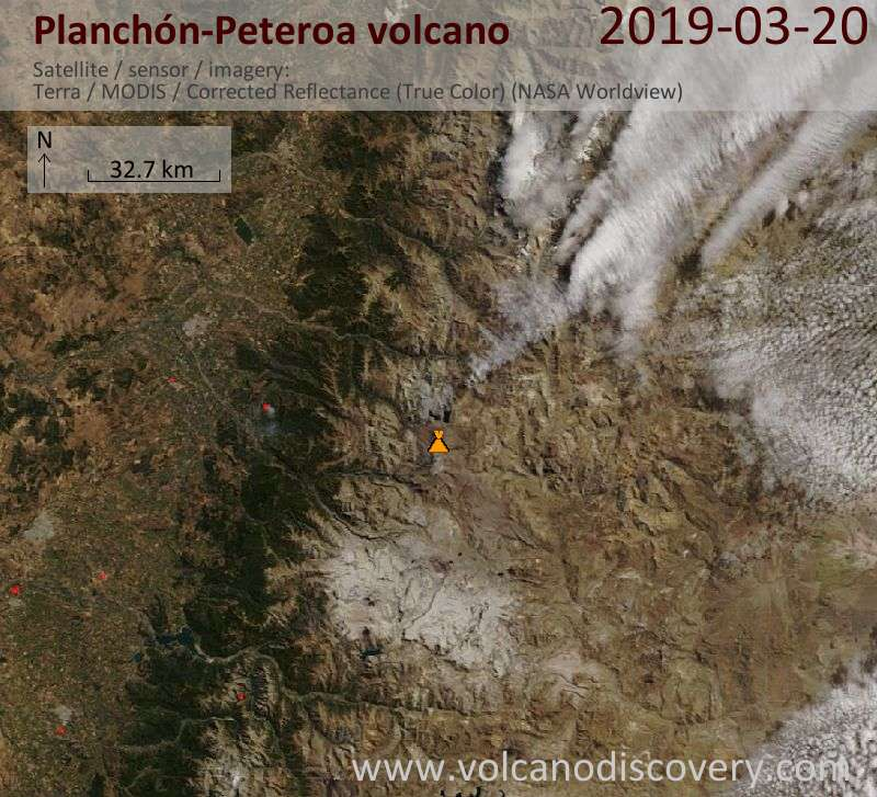 Satellite image of Planchón-Peteroa volcano on 20 Mar 2019