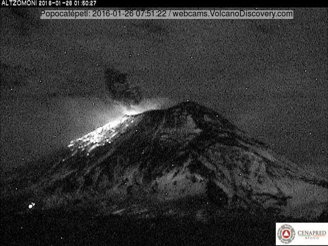 Explosion from Popocatépetl last night (CENAPRED)
