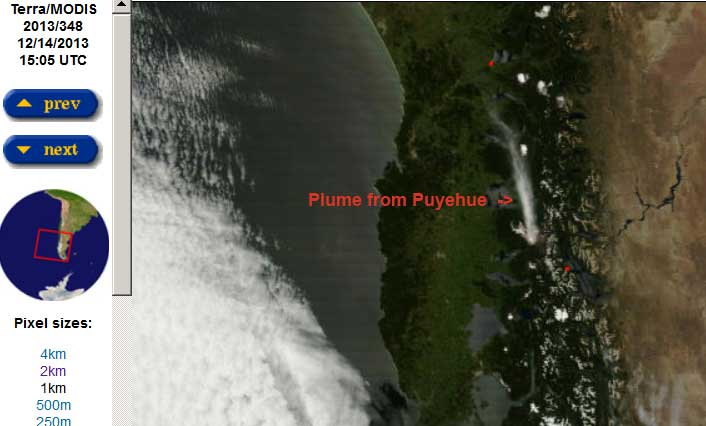 MODIS / Terra satellite image 14 Dec showing a plume drifting N from Puyehue
