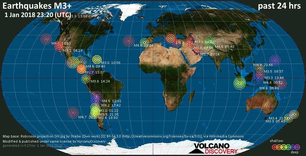 Earthquake report world wide for monday 1 jan 2018 volcanodiscovery world map showing earthquakes above magnitude 3 during the past 24 hours on 1 jan 2018 gumiabroncs Gallery