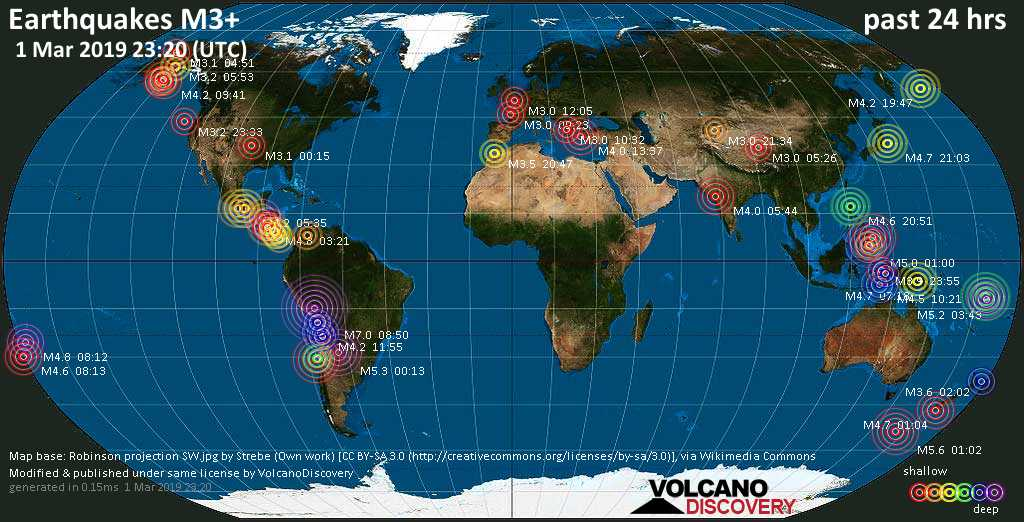 World map showing earthquakes above magnitude 3 during the past 24 hours on  1 Mar 2019