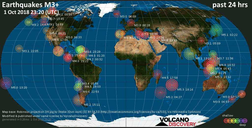 Earthquake report world wide for Monday, 1 Oct 2018 / VolcanoDiscovery