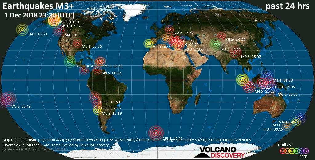 World map showing earthquakes above magnitude 3 during the past 24 hours on  1 Dec 2018