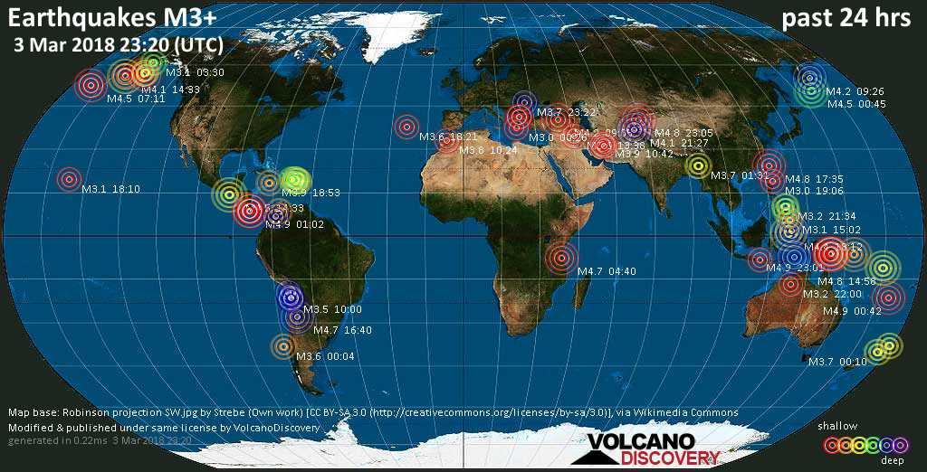 Earthquake Report Worldwide For Saturday Mar - World map 3
