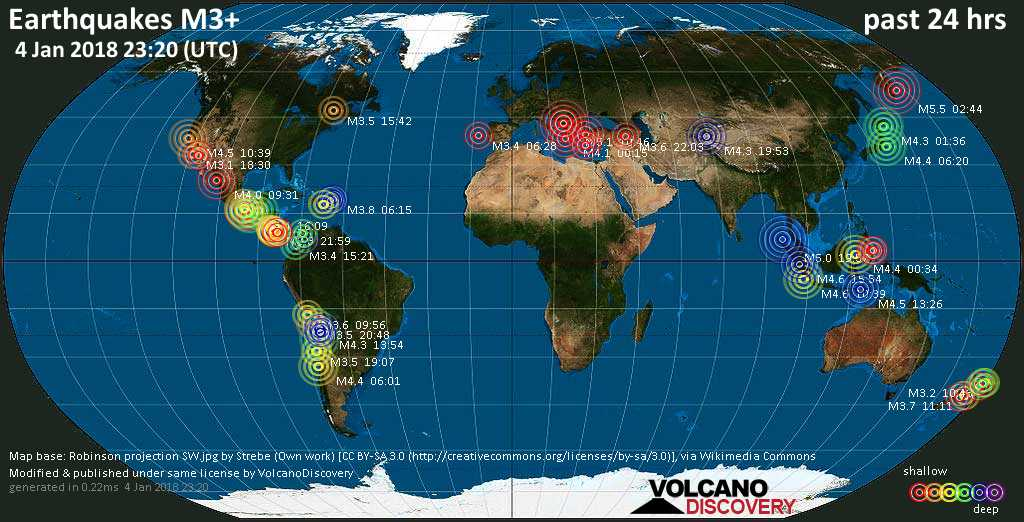World map showing earthquakes above magnitude 3 during the past 24 hours on  4 Jan 2018