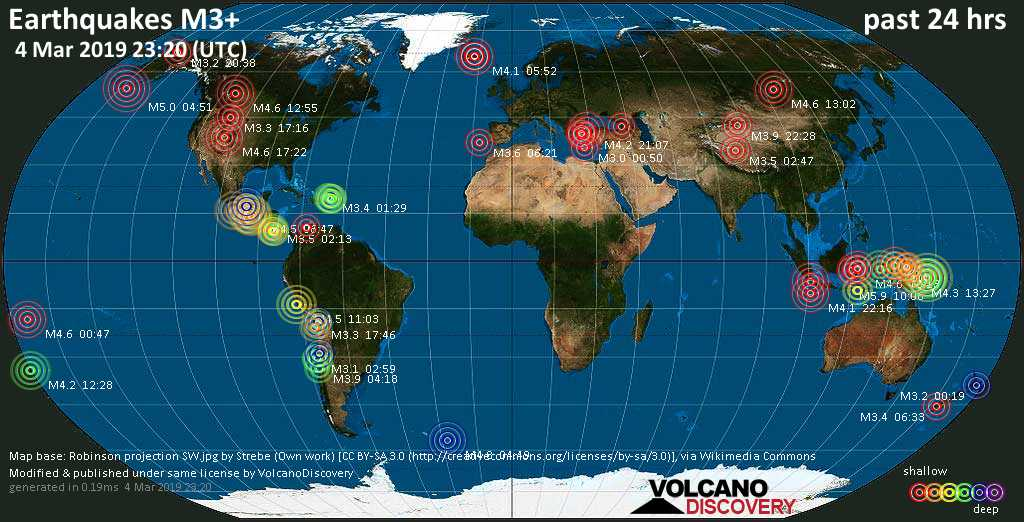 World map showing earthquakes above magnitude 3 during the past 24 hours on  4 Mar 2019