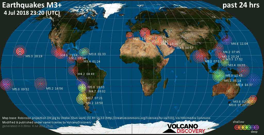 Earthquake report world-wide for Wednesday, 4 Jul 2018 ...