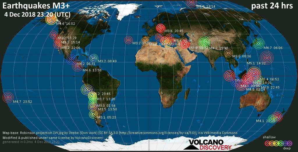 World map showing earthquakes above magnitude 3 during the past 24 hours on  4 Dec 2018