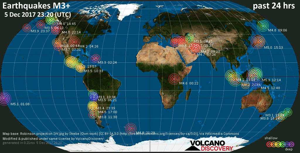 World map showing earthquakes above magnitude 3 during the past 24 hours on  5 Dec 2017