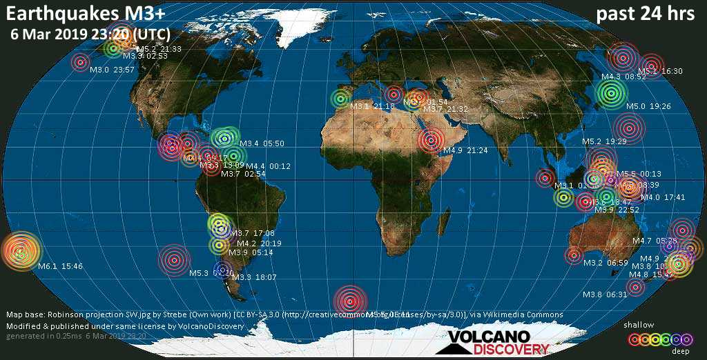 World map showing earthquakes above magnitude 3 during the past 24 hours on  6 Mar 2019