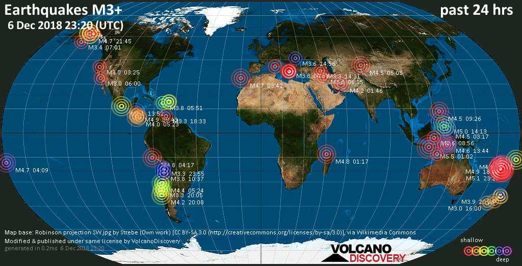 World map showing earthquakes above magnitude 3 during the past 24 hours on  6 Dec 2018