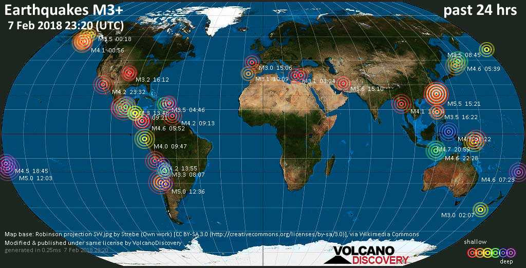 Earthquake report world wide for wednesday 7 feb 2018 world map showing earthquakes above magnitude 3 during the past 24 hours on 7 feb 2018 gumiabroncs Choice Image